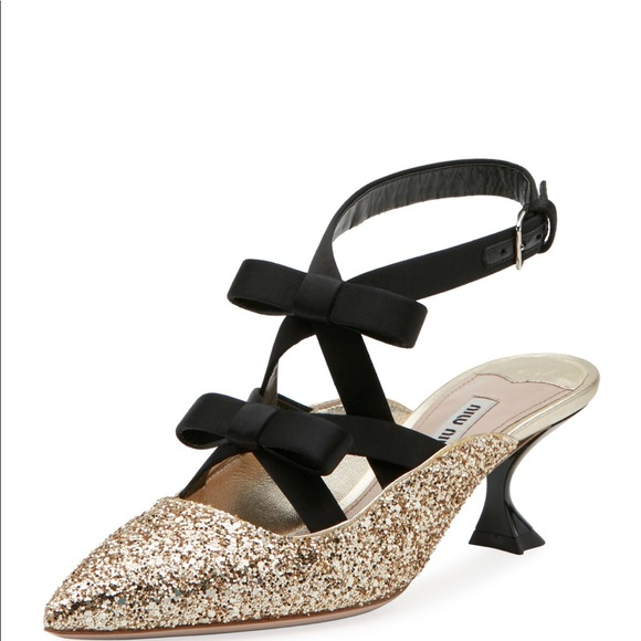 outlet 2015 new Miu Miu Glitter Bow Pumps shop offer cheap price low price fee shipping buy cheap looking for 8LDqcF4